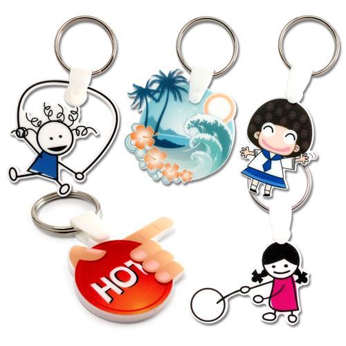 【客製化】 5cm白色壓克力全彩數位印刷鑰匙圈(厚度5mm)  宣導品 禮贈品 HFPWP-3150-075