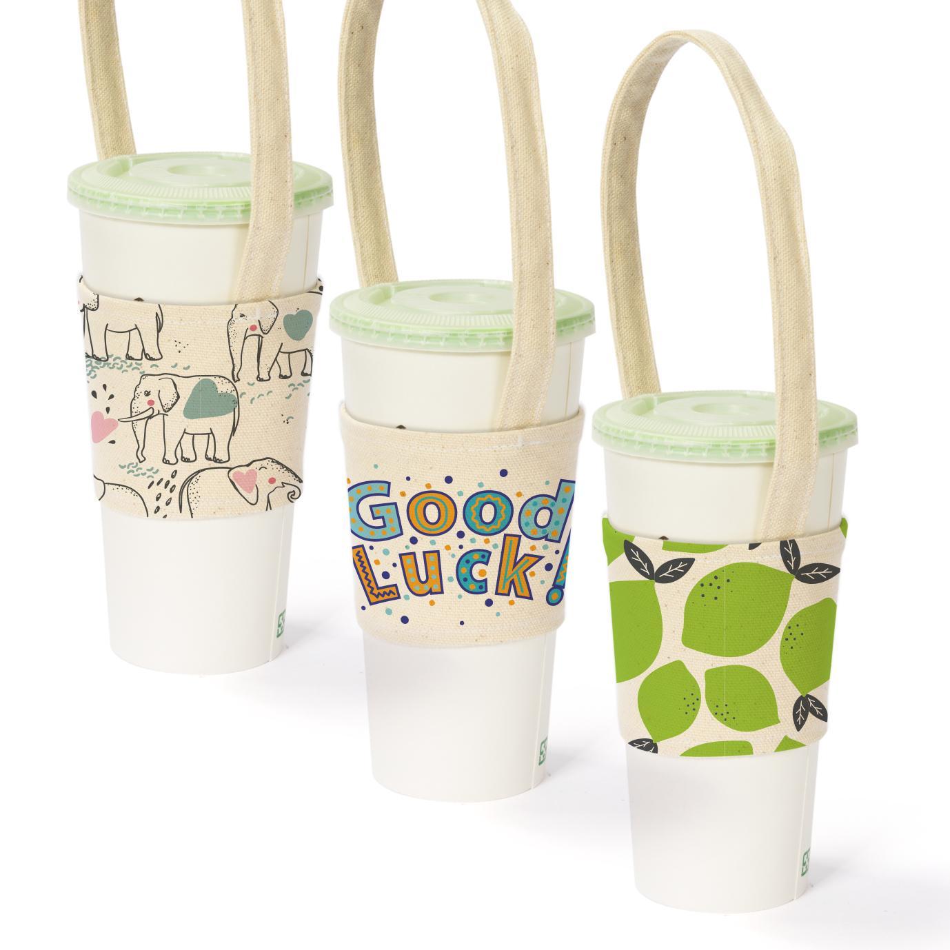 【客製化 】寬版帆胚布杯袋飲料杯提袋50個含彩色印刷 宣導品 禮贈品 HFPWP S1-01088AA-50