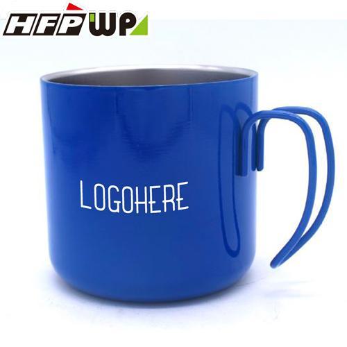 【客製化】超聯捷 500個含1色印刷雙層隔熱 304不鏽鋼杯把手杯 藍色烤漆 宣導品 禮贈品 S1-11015B-BL-500