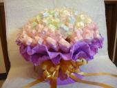新品~心型/花型棉花糖花束100枝300顆  情人節花束 浪漫喜糖 結婚用品 婚禮小物 禮贈品 ht-0121