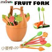 環保木桶水果叉 (16支叉子+木桶/組) D823