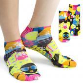 [客製化] 直筒白色短襪 螢光全彩熱昇華 尺寸 25-27公分  100個含印刷含版費 S1-42005M-100
